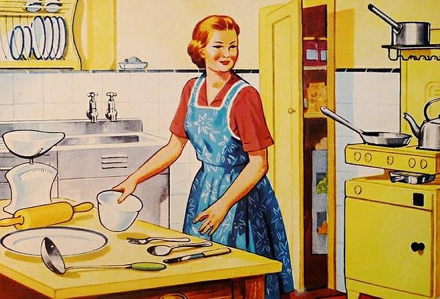 retro hospodyňka v kuchyni