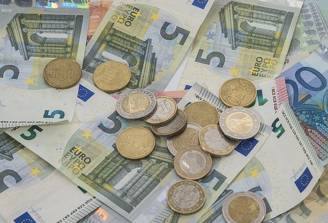 euro, bankovky, mince
